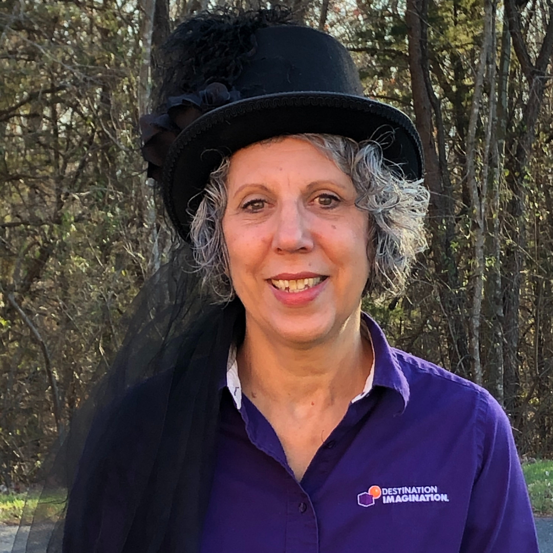 Louise Liddle, DI Board of Trustees Chair, participating in the Hats on for Creativity challenge.