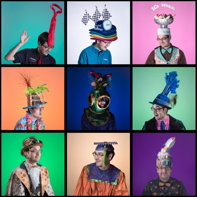 Ben White poses in six different photos wearing six different hats he created during his time volunteering with DI over the years.
